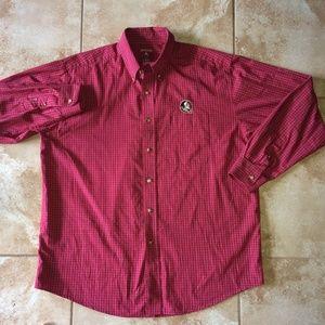 Antigua FSU Seminole Long Sleeve Checkered Shirt